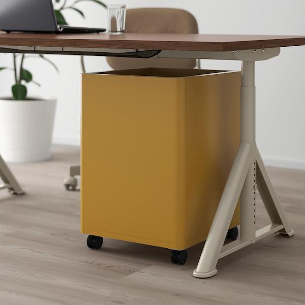 IDÅSEN Caisson à tiroirs sur roulettes, brun doré, 42x61 cm