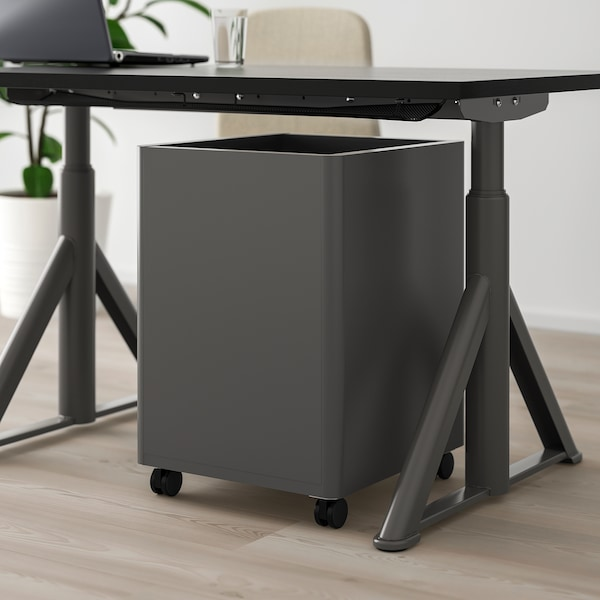 IDÅSEN Caisson à tiroirs sur roulettes, gris foncé, 42x61 cm