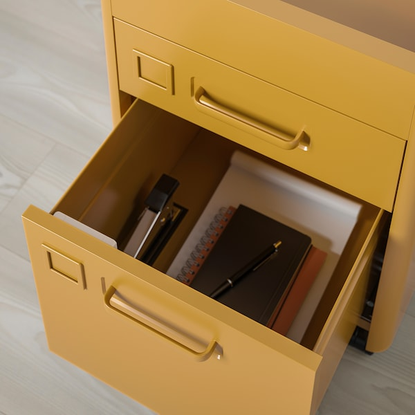 IDÅSEN Caisson tiroirs av verrou connecté, brun doré, 42x61 cm