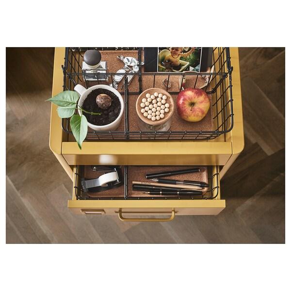 IDÅSEN caisson à tiroirs sur roulettes brun doré 42 cm 47 cm 61 cm
