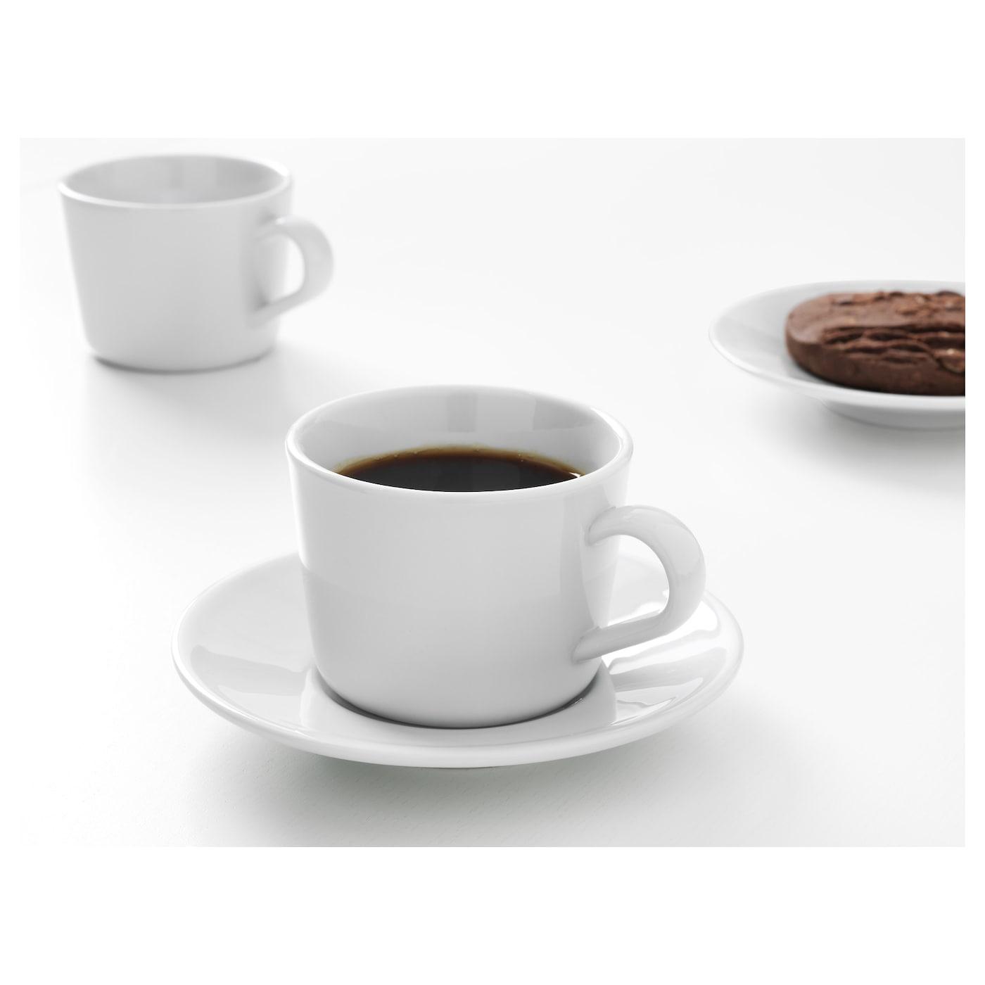 porcelaine tasse de café tasse tasse avec soucoupe; en blanc; Ikea 365 13cl