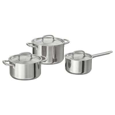 IKEA 365+ Batterie de cuisine, 3 pièces, acier inoxydable