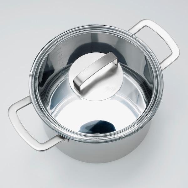 IKEA 365+ Faitout avec couvercle, acier inoxydable/verre, 5 l