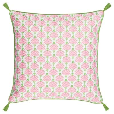 INBJUDEN Housse de coussin, blanc/rose, 50x50 cm