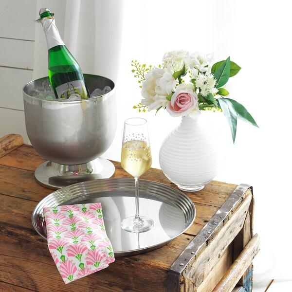 INBJUDEN Serviette de table, blanc/rose, 45x45 cm