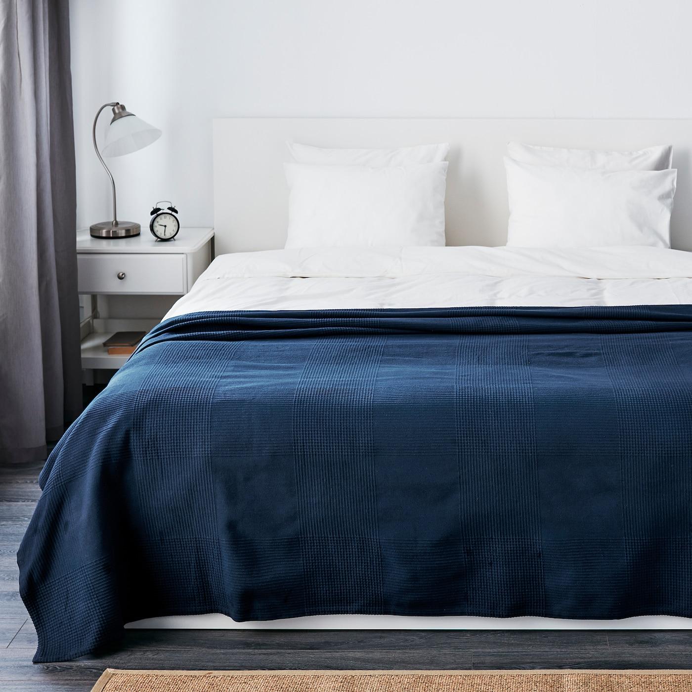 INDIRA Couvre-lit - bleu foncé - IKEA