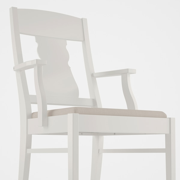 INGATORP Chaise à accoudoirs, blanc, Nordvalla beige IKEA