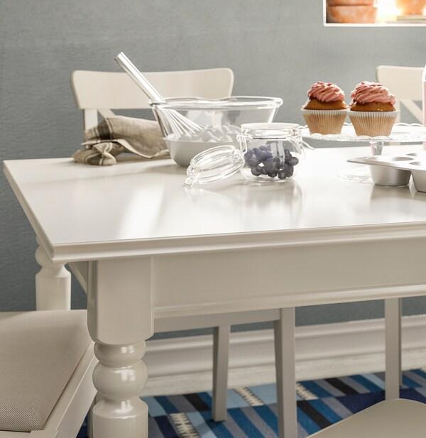 INGATORP / INGOLF Table et 6 chaises, blanc/Nordvalla beige, 155/215 cm