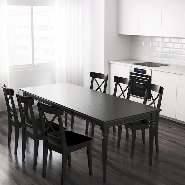 INGATORP Table extensible, noir, 155/215x87 cm