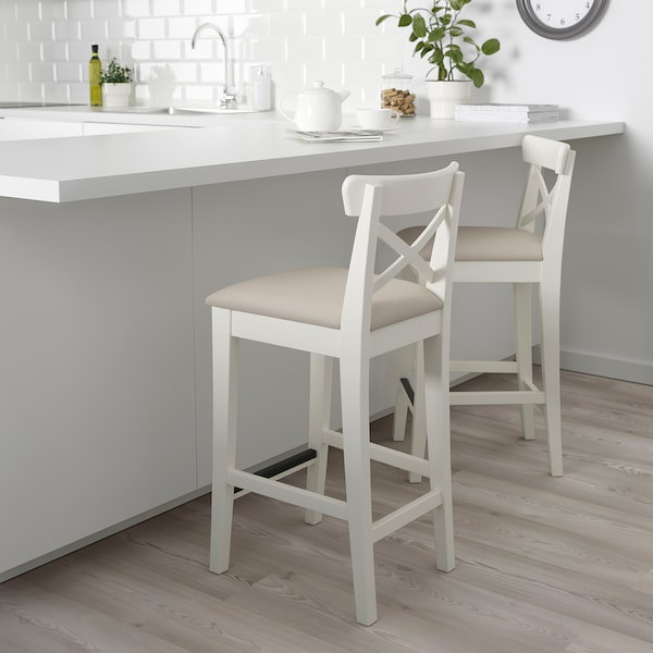INGOLF Chaise de bar - blanc/Hallarp beige - IKEA