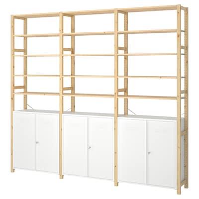 IVAR 3 sections/élément/tablettes, pin/blanc, 259x30x226 cm