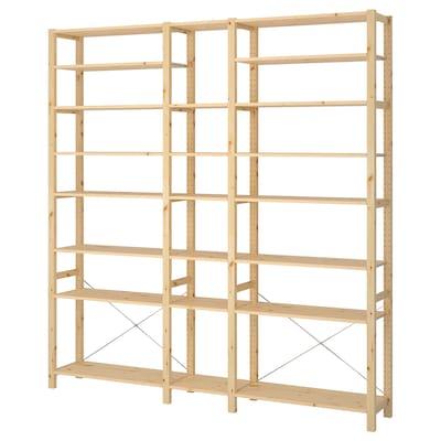 IVAR 3 sections/étagères, pin, 219x30x226 cm