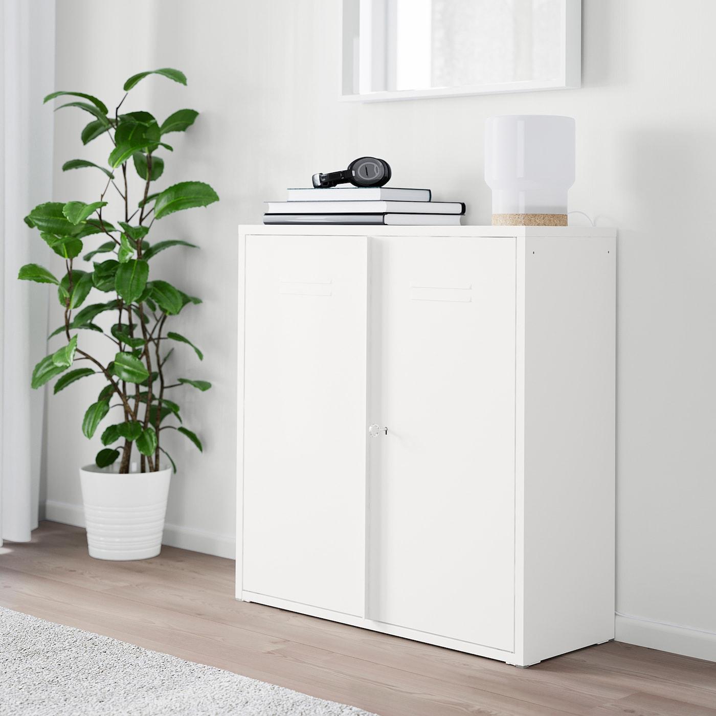Ikea Meuble Blanc Laqué ivar armoire avec portes - blanc 80x83 cm