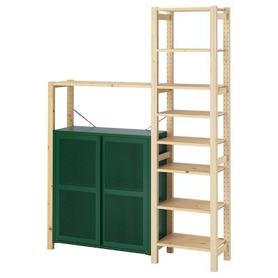 IVAR Étagère avec rangements/tiroirs, pin/vert grillage, 134x30x179 cm