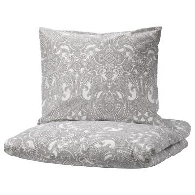 JÄTTEVALLMO Housse de couette et 2 taies, blanc/gris, 240x220/65x65 cm