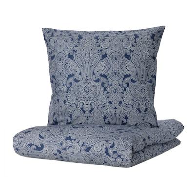 JÄTTEVALLMO Housse de couette et 2 taies, bleu foncé/blanc, 240x220/65x65 cm