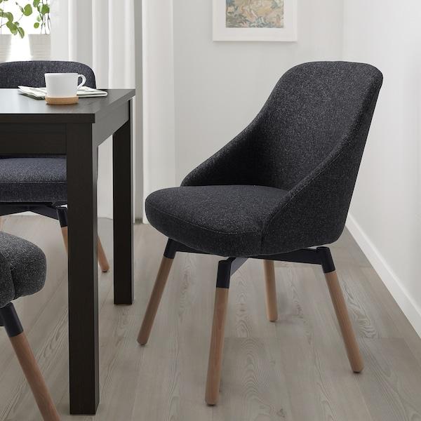 JANOLOF Chaise de salle à manger pivotante, Gunnared gris foncé