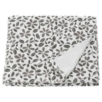 JUVELBLOMMA Drap de bain, blanc/gris, 70x140 cm