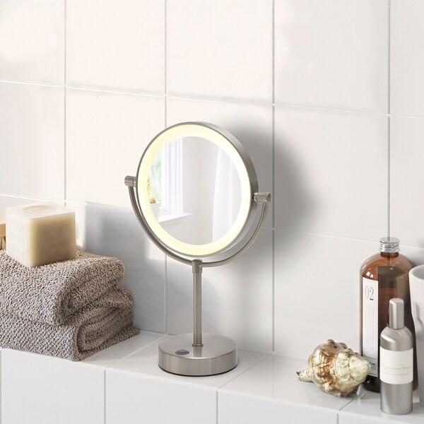 KAITUM Miroir avec éclairage intégré, à pile, 20 cm