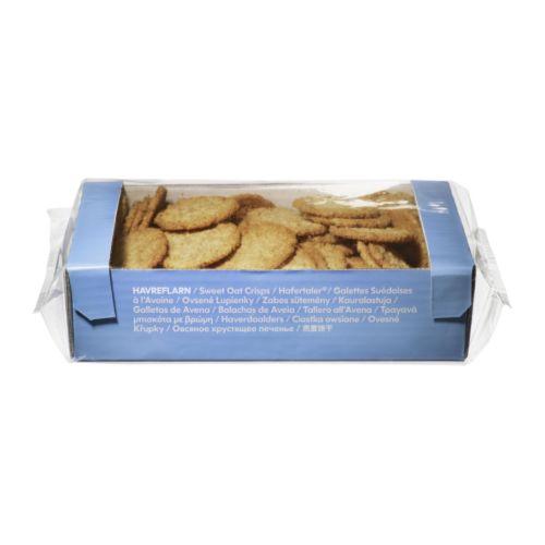 KAKOR HAVREFLARN Croquets à l'avoine IKEA Biscuits croustillants à base de flocons d'avoine. A servir avec du café, du thé ou une autre boisson.