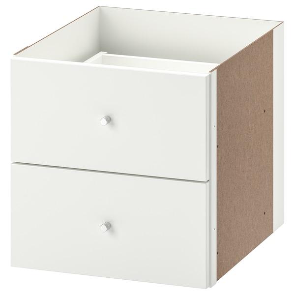 KALLAX Bloc 2 tiroirs, brillant blanc, 33x33 cm