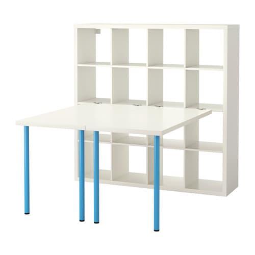 kallax combinaison bureau blanc bleu ikea. Black Bedroom Furniture Sets. Home Design Ideas