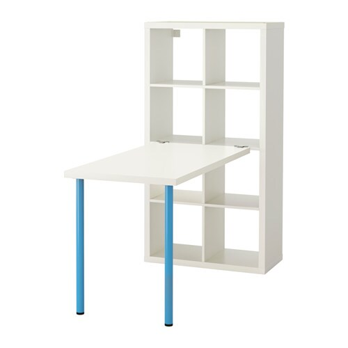 kallax combinaison bureau blanc bleu ikea. Black Bedroom Furniture Sets. Home Design Ideas