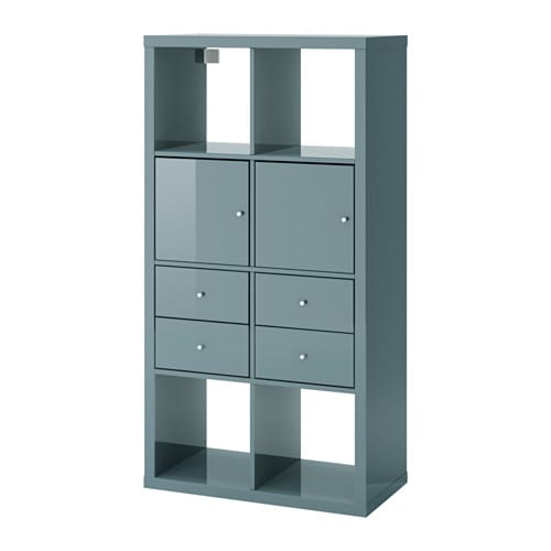 kallax tag re avec 4 accessoires gris turquoise brillant 77x147 cm ikea. Black Bedroom Furniture Sets. Home Design Ideas