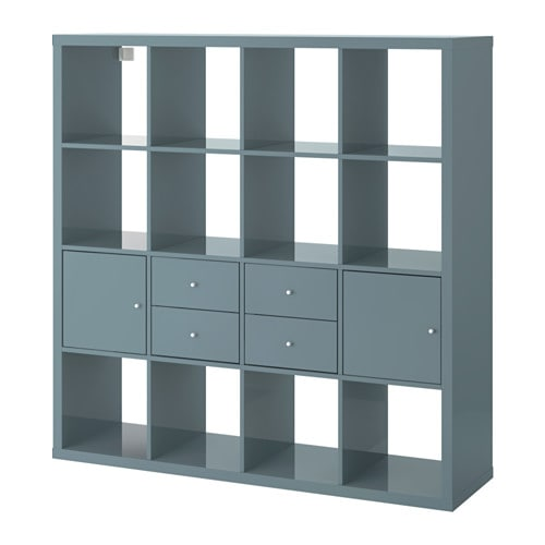 kallax tag re avec 4 accessoires gris turquoise brillant ikea. Black Bedroom Furniture Sets. Home Design Ideas
