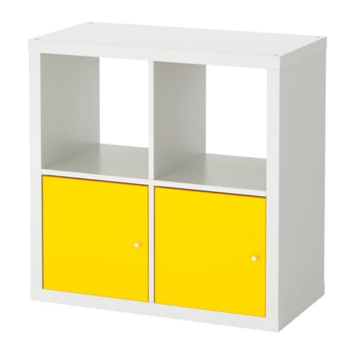 Kallax tag re avec portes blanc jaune ikea for Meuble 4 cases ikea