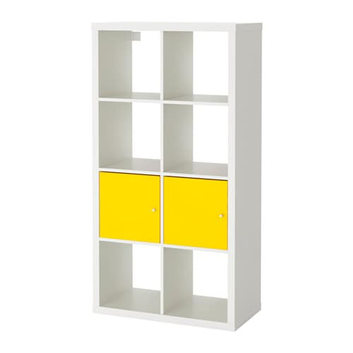 kallax tag re avec portes blanc jaune 77x147 cm ikea. Black Bedroom Furniture Sets. Home Design Ideas