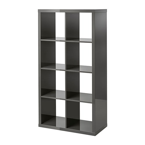 Kallax tag re brillant gris ikea for Meuble 4 cases ikea