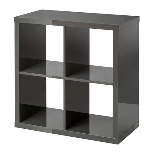 Kallax tag re brillant gris ikea for Meuble kallax blanc
