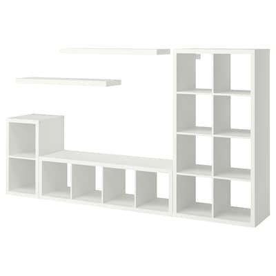 KALLAX / LACK Combinaison rangement+2 tabl, blanc, 266x39x147 cm