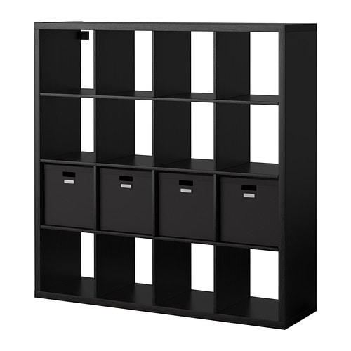 kallax tjena tag re avec 4 accessoires brun noir ikea. Black Bedroom Furniture Sets. Home Design Ideas