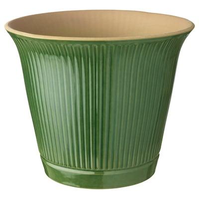 KAMOMILL Cache-pot, intérieur/extérieur vert, 19 cm