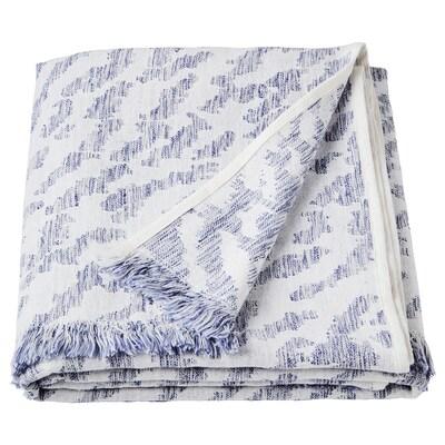 KAPASTER Plaid, blanc/bleu, 130x170 cm