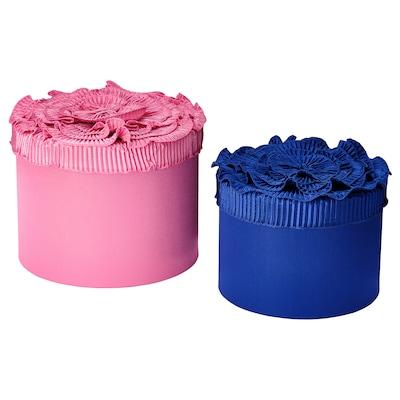 KARISMATISK Boîte, lot de 2, bleu/rose
