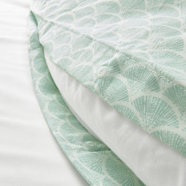KASKADGRAN Housse de couette et 2 taies, blanc/turquoise clair, 240x220/65x65 cm