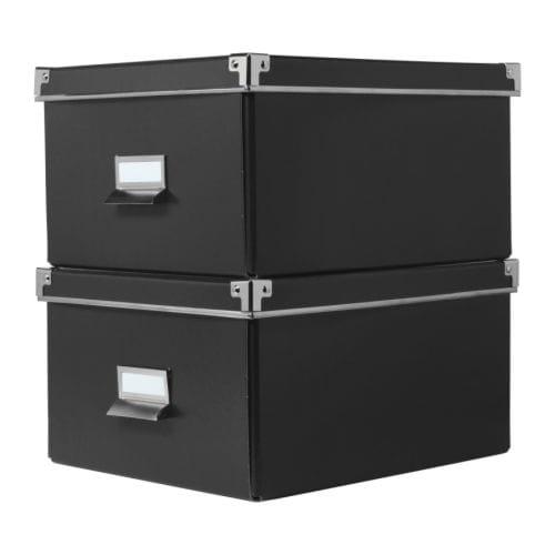 KASSETT Boîte à couvercle pour papier noir Largeur: 28 cm Profondeur: 35 cm Hauteur: 18 cm Quantité/paquet: 2 pièces