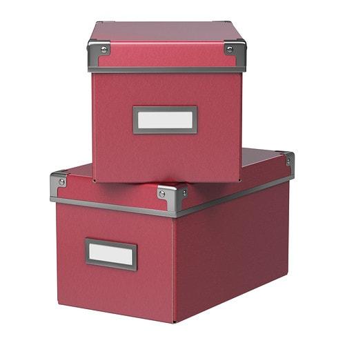 KASSETT Boîte avec couvercle IKEA Idéal pour ranger CD, jeux, chargeurs ou accessoires de bureau.