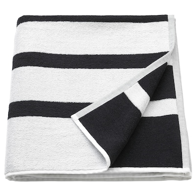 KINNEN Drap de bain, blanc/noir, 70x140 cm