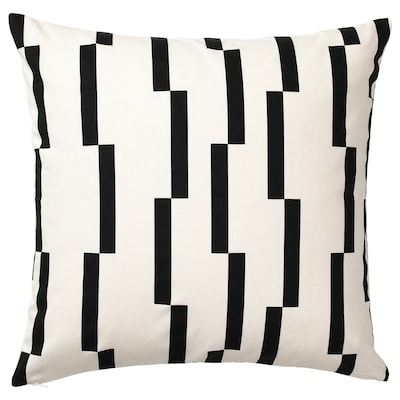 KINNEN Housse de coussin, blanc/noir, 50x50 cm