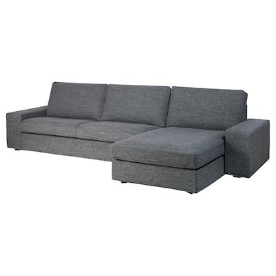 KIVIK Canapé 4 places, avec méridienne/Lejde gris/noir