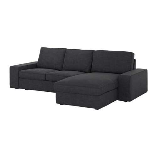 Kivik Canape 3 Places Avec Meridienne Hillared Anthracite Ikea