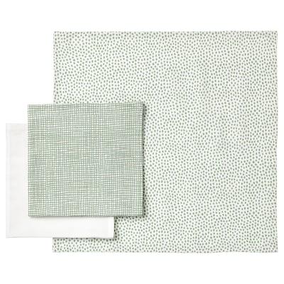 KLÄMMIG Petite serviette, vert/blanc, 3 pièces