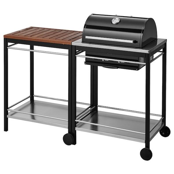 KLASEN Barbecue au charbon, avec chariot, brun IKEA