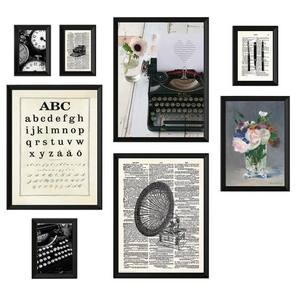 KNOPPÄNG Cadre avec image, 8 pièces, machine à écrire