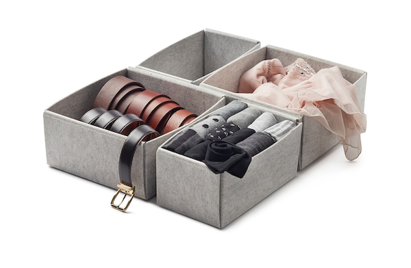 KOMPLEMENT boîte, lot de 4 gris clair 50 cm 58 cm