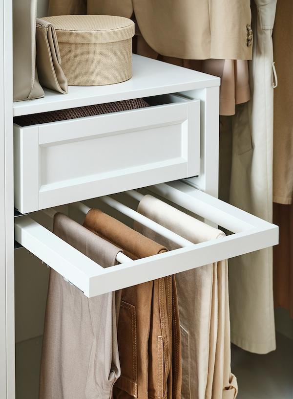 KOMPLEMENT Porte-pantalons coulissant, blanc, 100x58 cm